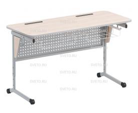 Стол ученический с перфорируемой панелью, наклоном столешницы (0-24°) и корзиной.