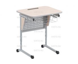 Стол ученический с перфорированной панелью, наклоном столешницы (0-24°) и корзиной
