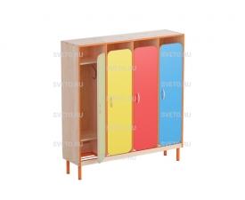 Шкаф детской одежды 4-х местный, с решеткой