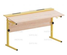 Стол ученический с наклоном столешницы (0-15°) на  прямоугольной трубе