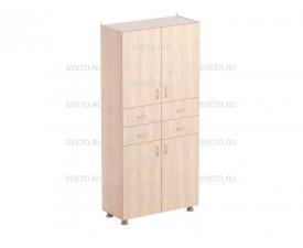 Шкаф для учебных пособий (верхняя и нижняя часть с дверками, между ними 4 выдвижных ящика)