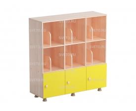 Шкаф «Мозаика» трехсекционный (с перегородками) и дверками